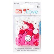 Drukknopen* - Prym Love drukknopen hart wit/rood/roze (393.031)