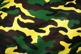 Polytex stoffen - Ptx 961081-43 Katoen leger donkerbruin/groen/geel/zwart