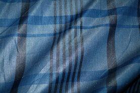 Geruite stof - Ptx 997644-31 Ruit lichte glans jeansblauw