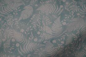 Laagjes kleding stoffen - JT 5491-403 Katoen varens en bladeren mint