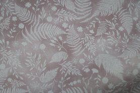 Laagjes kleding stoffen - JT 5491-404 Katoen varens en bladeren oudroze