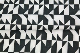 Sommer - Stenzo20 16112-02 Cotton poplin fantasie Triangles schwarz/weiß
