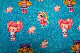 Tricot kinderstoffen - Stenzo20/21 16535-09 French Terry digitaal unicorns turquoise