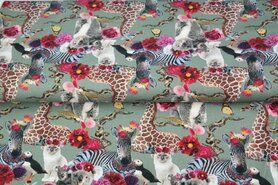 Mintgroen - Stenzo20/21 16546-10 French Terry digitaal crazy funny lovely animal mint