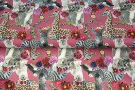 Tricot stoffen - Stenzo20/21 16546-12 French Terry digitaal crazy funny lovely animal roze