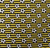 Dekorationsstoffe - NB 15571-033 Baumwolle Streifen/Fussball gelb