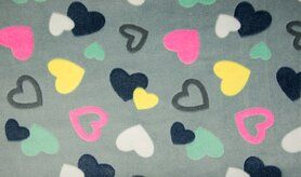 Herzmotiv - KC4017-563 Cuddle Fleece hearts grau/multi