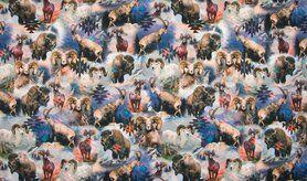 Dierenmotief stoffen - KC7502-207 Tricot Steppe Animals blauw/multi