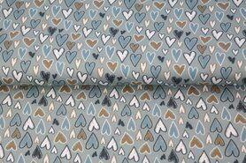 Rekbare stoffen - Stenzo20/21 16604-16 Tricot hartjes oud groen