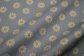 Mondkapjes paneel - VH20/21 8224-016 Katoen Daisy Flower grijs