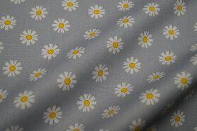 Nieuwe stoffen - VH20/21 8224-016 Katoen Daisy Flower grijs