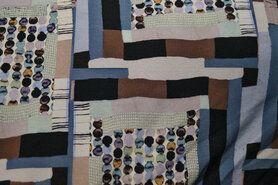 Polyester en elastan - Ptx20/21 924541-33 Tricot fantasieprint bruin/blauw