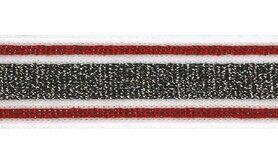 Weiß/cremefarben - Lurexband zwart/wit/rood 30mm (XSS15-415)