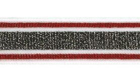 Zwart - Lurexband zwart/wit/rood 30mm (XSS15-415)