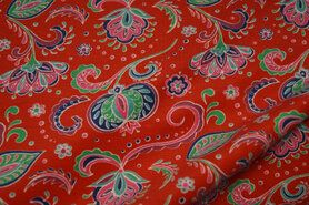 T-Shirt stoffen - Stenzo20/21 16619-11 Tricot paisley rood