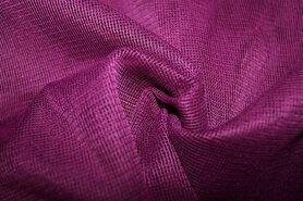 Polyester stof - Vi02 Vitrage grof donker pruim 2.80 hoog met loodveter