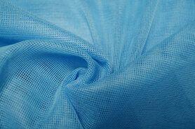 Polyester stof - Vi06 Vitrage grof blauw 2.80 hoog met loodveter