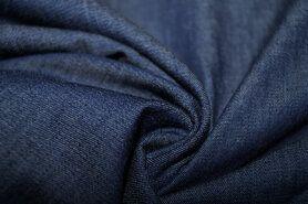 Denim stoffen - KN 0859-060 Jeans dun donkerblauw gemeleerd