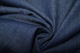 Jeansstoffen - KN 0859-060 Jeans dun donkerblauw gemeleerd