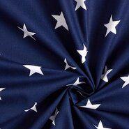 Zomer - ByPoppy19 4954-002 Katoen stars donkerblauw/wit