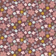 Hart stoffen - ByPoppy21 8265-014 Tricot flowers and hearts mauve