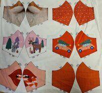 mondkapjes stoffen - Ptx 410032-060 Mondkapjes paneel kerst multi
