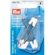 Diversen Prym* - Prym babyveiligheidsspeld roestvrij staal 55mm wit 4 stuks (086.103)