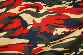 Leger motief - Ptx21 310131-86 Katoen camouflage groen/zwart/rood/beige