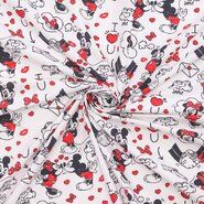 Kinderstoffen - Ptx21 669100-53 Katoen Disney mickey wit/zwart/rood
