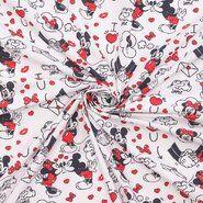 Verzierung - Ptx21 669100-53 Katoen Disney mickey wit/zwart/rood