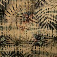 Stretch - KN21 17860-213 Stretch Cornery Tropical Leaves groentint