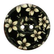 Knöpfe - Knoop kokos bloem zwart/wit (5630-44)