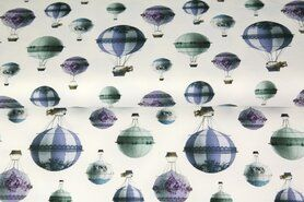 Hippe tricot stoffen - Stenzo21 17212-02 Tricot digitaal luchtballon blauw/mint/paars