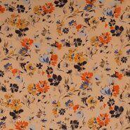 Blumenmotiv - KN21 17936-570 Chiffon yoryo foil romantic flowers peach