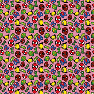 Sommer - Dapper21 15805-012 Katoen bedrukt superhelden roze