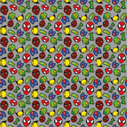 Bettwaren - Dapper21 15805-063 Katoen bedrukt superhelden grijs