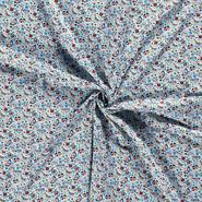 Interieurstoffen - Dapper21 15807-003 Katoen bedrukt skulls lichtblauw