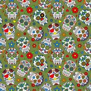 Interieurstoffen - Dapper21 15807-026 Katoen bedrukt skulls groen/multi