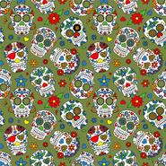 Multi stoffen - Dapper21 15807-026 Katoen bedrukt skulls groen/multi