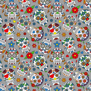 Multi stoffen - Dapper21 15807-063 Katoen bedrukt skulls grijs/multi