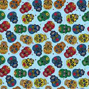 Katoenen stoffen - Dapper21 15808-003 Katoen bedrukt skulls lichtblauw/multi