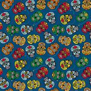 Katoenen stoffen - Dapper21 15808-008 Katoen bedrukt skulls navy/multi