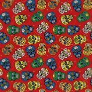 Multi stoffen - Dapper21 15808-015 Katoen bedrukt skulls rood/multi