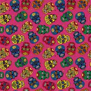 Katoenen stoffen - Dapper21 15808-017 Katoen bedrukt skulls fuchsia/multi