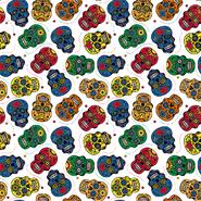 Multi stoffen - Dapper21 15808-050 Katoen bedrukt skulls wit/multi
