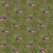 Nieuwe stoffen - Dapper21 15814-026 Katoen bedrukt legertank/ster groen