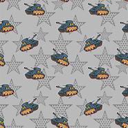 Nieuwe stoffen - Dapper21 15814-063 Katoen bedrukt legertank/ster grijs