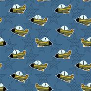 Nieuwe stoffen - Dapper21 15815-006 Katoen bedrukt vliegtuig/ster navy