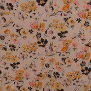 Doorschijnende stoffen - KN21 17936-020 Chiffon yoryo foil romantic flowers off-white