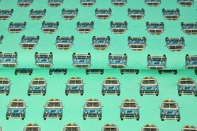 Tricot stoffen online - Stenzo21 17204-99 Tricot digitaal vw bus turquoise